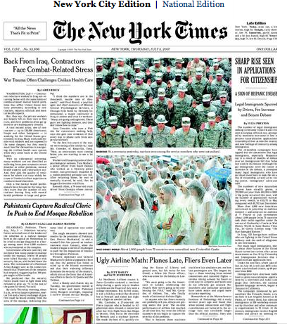 New York Times, Front Page