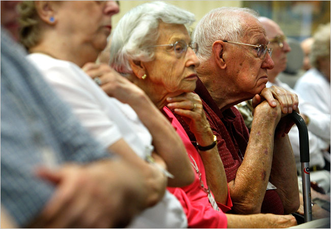 Eldely With No Fan : The elderly voter more health insurance than sense
