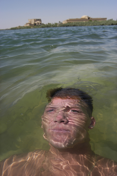 Soldier Swims Euphrates River, Ar Ramadi