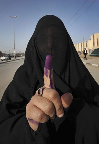Burqa inked finger Iraq