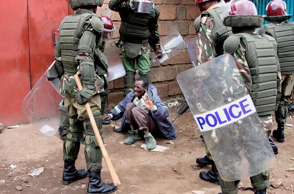 Police beating Nairobi
