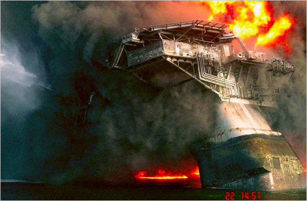 Deepwater Horizon rig aflame