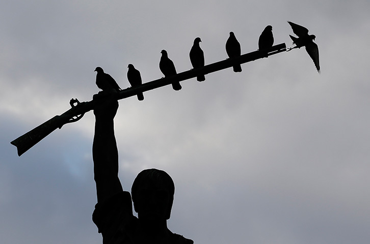 Birds roost on the rifle of a statue of Benjamin Milam at dusk