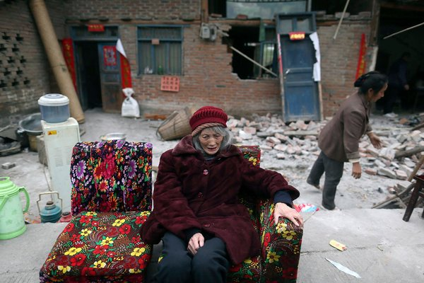 China quake elderly woman