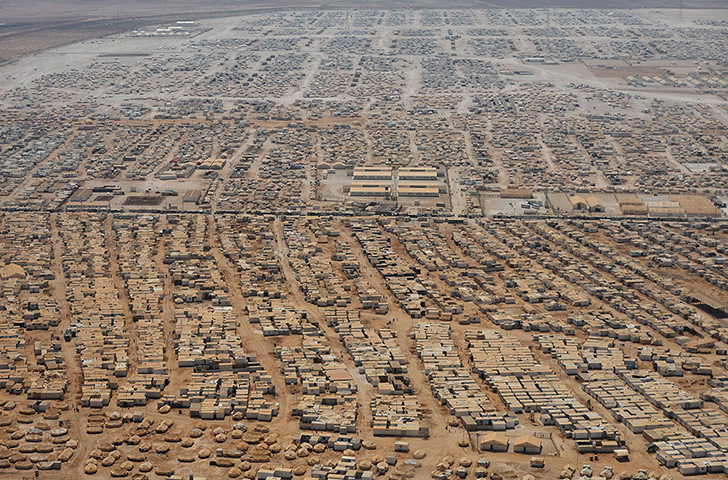 An aerial view of the Zaatari refugee camp near Mafraq, Jordan