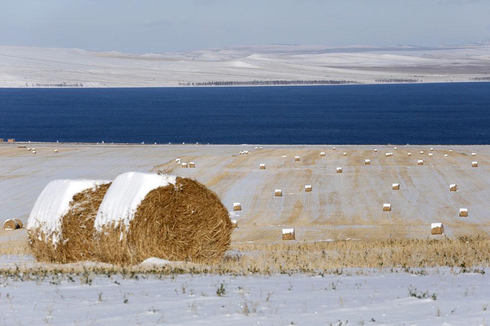 Hay bales, Belyo Lake, Siberia