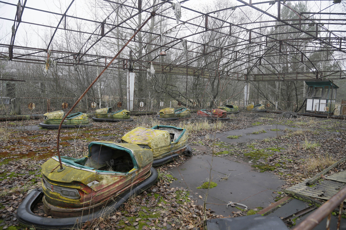 A playground in the deserted town of Pripyat, Ukraine, some 3 kilometers (1.86 miles) from the Chernobyl nuclear power plant Ukraine, Tuesday, Nov. 27, 2012. Workers on Tuesday raised the first section of a colossal arch-shaped structure that is planned to eventually cover the exploded reactor at the Chernobyl nuclear power station. Project officials on Tuesday hailed the raising as a significant step in a complex effort to liquidate the consequences of the world's worst nuclear accident, in 1986. (AP Photo/Efrem Lukatsky)
